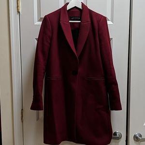 ZARA Wool Peacoat- Wine Red, Size L